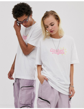 Crooked Tongues Unisex Oversized T Shirt With Bodega Print by Crooked Tongues