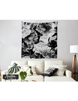 Black And White Flowers Tapestry, Garden, Vintage, Roses, Floral, Flowers Wall Decor, Home Decor, Dorm Decoration, Fabric Hanging T#37 by Etsy