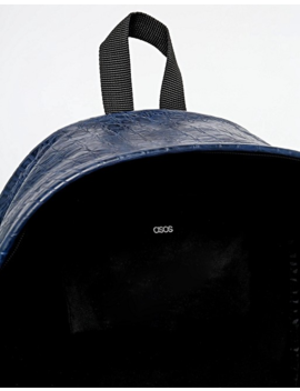 Asos Backpack In Navy Faux Leather With Crocodile Effect by Asos
