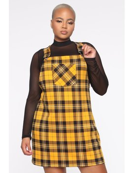 So Serious Overall Dress   Mustard/Combo by Fashion Nova