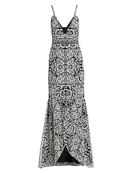 Embroidered Sleeveless V Neck Gown by Ml Monique Lhuillier
