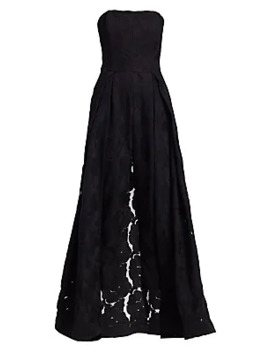 Strapless Lace Jacquard Skirt Overlay Jumpsuit by Halston