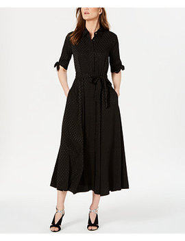 Tonal Dot Maxi Shirtdress by General