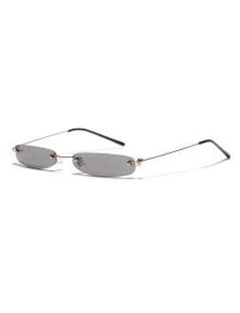Hot Narrow Lens Rectangle Rimless Sunglasses   Gray by Zaful