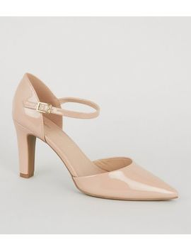 Pale Pink Patent 2 Part Pointed Court Shoes by New Look
