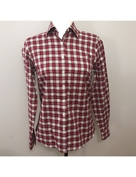 Lands End Women's Red Plaid No Iron Button Down by Lands' End