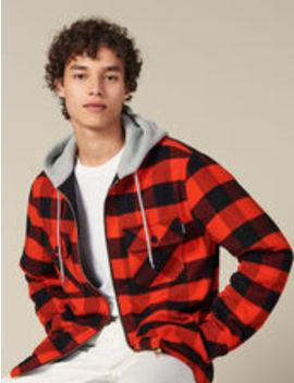 Check Overshirt With Hood by Sandro Eshop
