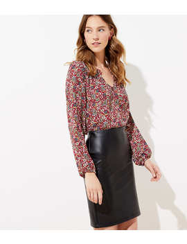 Faux Leather Pull On Pencil Skirt by Loft