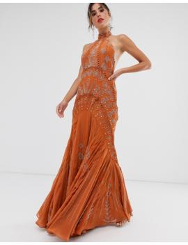 Asos Design High Neck Fishtail Embellished Maxi Dress by Asos Design