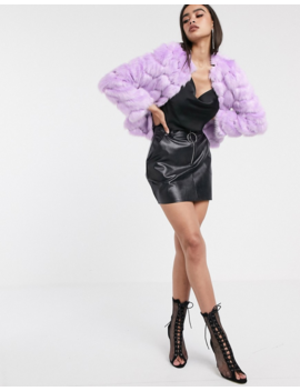 Asos Design Chevron Textured Faux Fur Jacket In Lilac by Asos Design