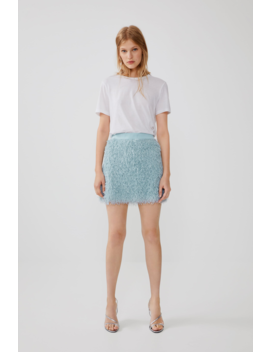 Feather Look Mini Skirt View All Shirts by Zara