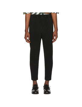 Black Tapered Cropped Trousers by Homme PlissÉ Issey Miyake
