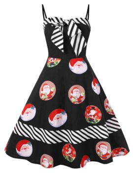 Christmas Plus Size Santa Claus Print Pin Up Dress   2x by Rosegal
