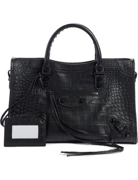 Classic City Croc Embossed Leather Tote by Balenciaga