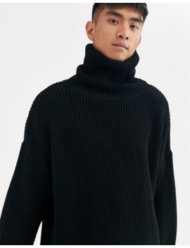 Asos Design Oversized Funnel Neck Jumper In Black by Asos Design