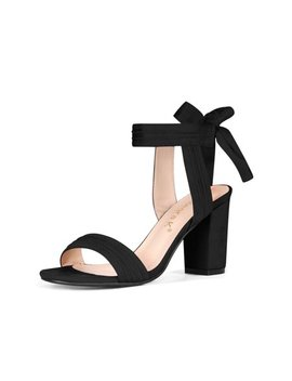 Unique Bargains Women's Ankle Tie Open Toe Block Heel Sandals by Unique Bargains