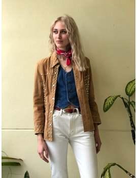 1970's Jean Jacket / Tan Denim / Studded Jacket / Stagewear Western Top / Sixties Ranch Wear / Denim Shirt Jacket by Etsy
