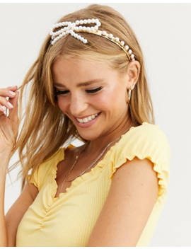 Asos Design Headband With Pearl Bow In Gold Tone by Asos Design