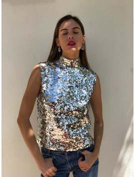 1960s Party Top / Silver Sequin Knit Sweater / Sequined Beaded Blouse / Sleeveless Party Top / Cocktail Hour / Mid Century Party / Paco Look by Etsy