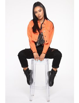 Not To Cut You Off Denim Jacket   Orange by Fashion Nova