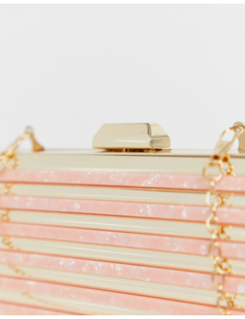 True Decadence Gold And Resin Structured Clutch Bag by True Decadence