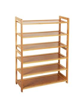 20 Pair Concise Rectangle 6 Tiers Bamboo Shoe Rack Wood Color Shoe Organizer by Home Depot
