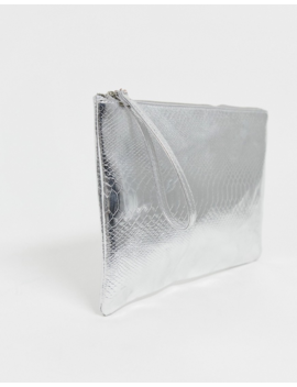 South Beach Exclusive Silver Snake Embossed Clutch Bag by South Beach