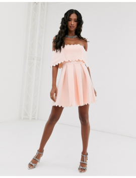 Asos Design Scallop Edge Bardot Skater Mini Dress by Asos Design