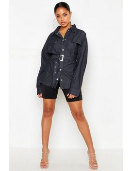 Belted Denim Shirt by Boohoo