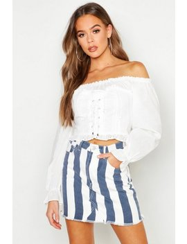 Broderie Anglaise Bardot Corset Top by Boohoo