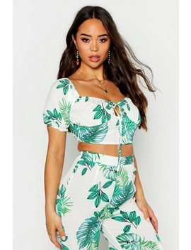 Palm Print Volume Sleeve Tie Front Top by Boohoo