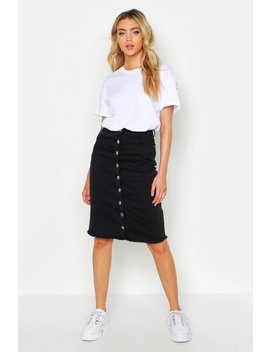 Button Front Stretch Midi Denim Skirt by Boohoo