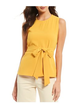 Karen Tie Waist Sleeveless Crepe Blouse by Antonio Melani
