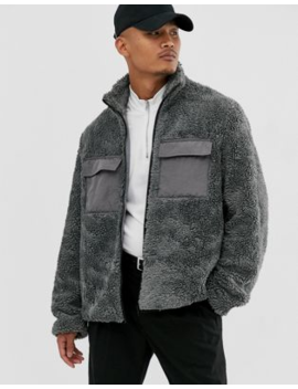 Asos Design Zip Through Borg Jacket In Grey by Asos Design