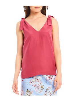 Luna V Neck Tie Strap Silk Blouse by Antonio Melani