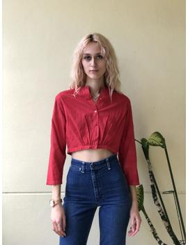 Antique Cropped Blouse / Turkey Red Hand Dyed / Cotton Crop Top / Red Summer Shirt / Haute Hippie Bohemian Blouse / Midriff Shirt by Etsy