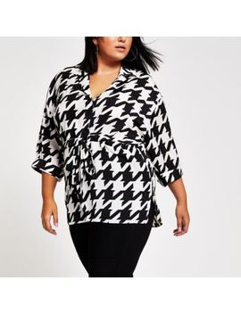 Plus Black Dogtooth Check Print Shirt by River Island