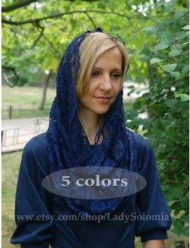 Blue Traditional Catholic Infinity Mantilla Veil, Blue Lace Scarf, Head Сovering, Orthodox Veils, Catholic, Veil For Mass, Lace Church Snood by Etsy