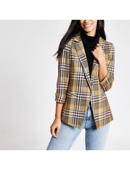 Beige Check Open Front Blazer                                    Beige Check Belted Shorts by River Island