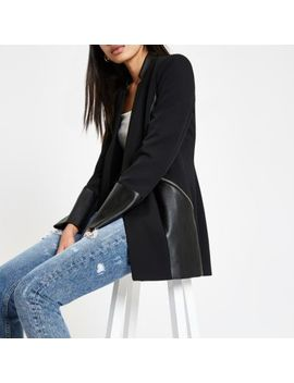 Black Blocked Zip Pocket Blazer by River Island