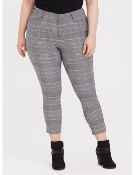 Modern Millennium Stretch Ankle Pant   Black Plaid Houndstooth by Torrid