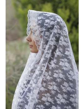 White Rectangular Lace Chapel Veil, Traditional Catholic Church Head Scarf, Prayer Mantilla Veil For Mass, Medieval Hijab For Women by Etsy