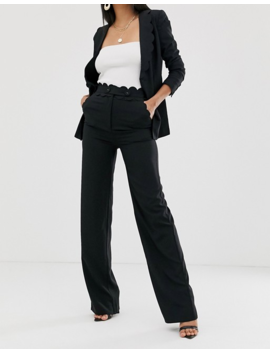 Fashion Union Tall Straight Leg Pants With Scallop Waist Detail Two Piece by Fashion Union