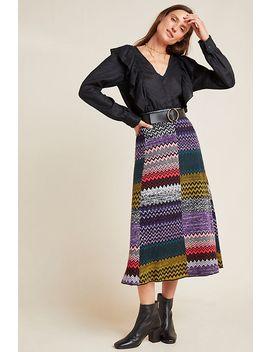 Patchwork Knit Midi Skirt by Geisha Designs