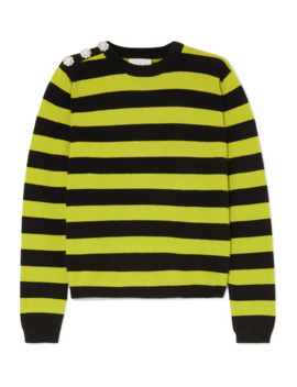 Button Embellished Striped Cashmere Sweater by Ganni