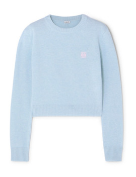Cropped Embroidered Wool Sweater by Loewe