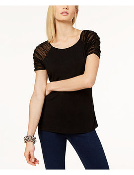 I.N.C. Ruched Illusion Sleeve Top, Created For Macy's by General