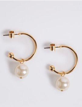Pearl Drop Hoop Earrings by Marks & Spencer