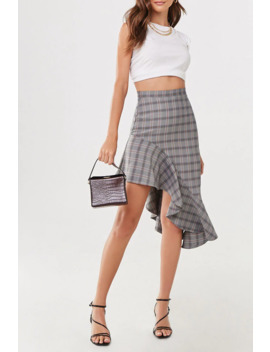 Plaid High Low Skirt by Forever 21