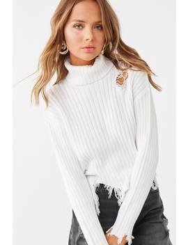 Ribbed Distressed Turtleneck Sweater by Forever 21